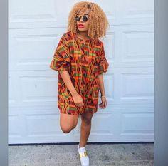 Dashiki Ankara Style With Sneakers African Fashion Ankara, Latest African Fashion Dresses, African Print Fashion, Africa Fashion, Nigerian Fashion, African Shirt Dress, Short African Dresses, African Print Dresses, African Prints