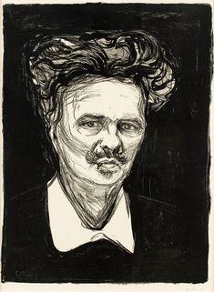 Edvard Munch - Lithograph of August Strindberg Edvard Munch, Karl Schmidt Rottluff, Caspar David Friedrich, Scandinavian Art, Museum Of Modern Art, Art Forms, Printmaking, Illustrators, Original Artwork