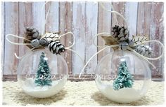 Altered baubles using structure paste, glitter, mini trees, pine cones and twine