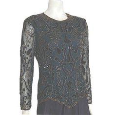 Stenay  Vintage 1980s Sequin Beaded Blouse Handmade Trophy Flapper NWT  #Stenay