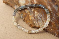 Labradorite and Golden Rutilated Quartz Bracelet, Stacking Gemstone Bracelet, Stretch Bracelet, Layering Bracelet