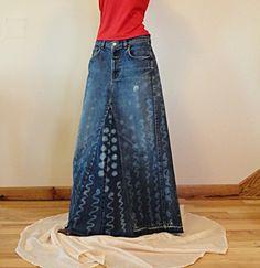 Gonna di jeans lunga con stampe
