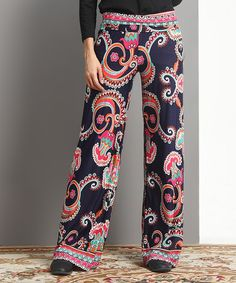 Loving this Navy & Fuchsia Floral Fold-Over High-Waist Palazzo Pants - Plus on #zulily! #zulilyfinds