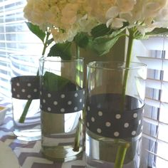 White hydrangeas, baby shower decor... But ribbon colors to match shower theme
