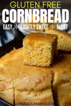 Gluten Free Cornbread recipe is a lightly sweet, southern-style cornbread with a lighter, cakelike texture. Only a few simple ingredients are required to enjoy a cornbread so good no one will realize it's gluten free! #glutenfree cornbread #recipe #easy #muffins #dairyfree #sweet #stuffing