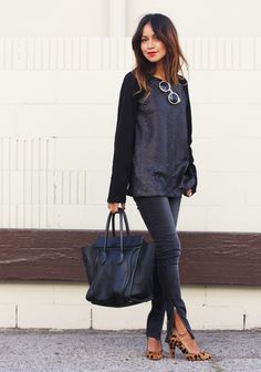Jeans: Anine Bing  |  Sweater: Mango  |  Heels: Madewell  |  Shades: Asos  |  Bag: Celine  |   Necklaces: Jennifer Zeuner 1, 2
