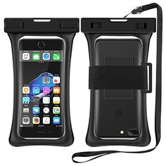 "[Floating] Waterproof Cell Phone Case, RANVOO Dry Bag Pouch for iPhone 7 plus,7, Samsung Galaxy S8 Plus, S7,S6,Edge,Note 3,4,5, LG G5,G6,with Armband and Lanyard, Up to 6.3""- Black  [IPX8 Certified] & [Air Bag Design] Universal waterproof case bag fits all smartphones up to 6.2"" diagonal size (Certain big screen phones need to remove protective case)  Great for outdoors Contains Armband and Lanyard, suit for outdoor activities, such as fishing, running, swimming, boating, kayaking, sno..."