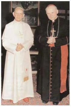 Pope Paul VI and then Cardinal Karol Wojtyla