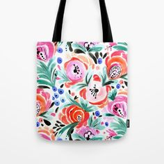 Tropical Floral Tote Bag by CRYSTAL ▽ WALEN multicolor pink coral pattern mint turq blue blush black white @society6