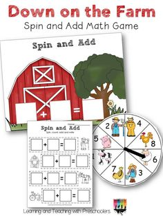 Down on the Farm Spin and Add Math Game