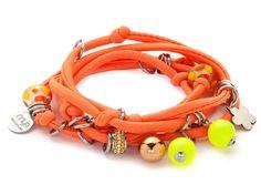 Bracciale in lycra arancione fluo perle Swarovski