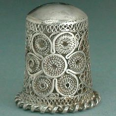 Vintage Sterling Silver Hand Made Filigree Thimble Mid 20th Century