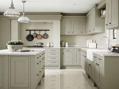 Sage Green Kitchen, Green Kitchen Walls, Green Kitchen Cabinets, Kitchen Cabinet Colors, Kitchen Cabinets Color Combination, Kitchen Colour Schemes, Wicks Kitchens, New Kitchen Inspiration, Open Plan Kitchen Living Room