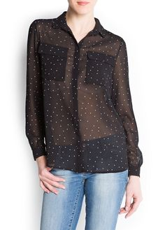 Benekli ince kumaştan gömlek #mango #gömlek #shirt