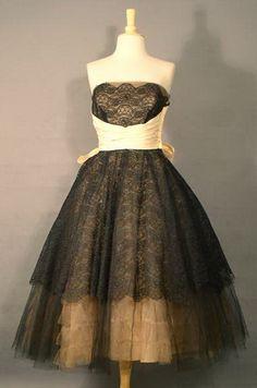 Vintage Prom Dresses | ... Black Beige Lace Tulle 1950′s Prom Dress VINTAGEOUS VINTAGE CLOTHING