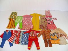 Vintage Sew Easy Barbie Size Clothes Complete Wardrobe of 31 Pieces - Retro Colorful Fabric HandMade & Sewn Clothes for 11 1/2 Inch Dolls $44.00