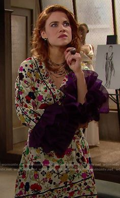 Sally's cream printed dress with purple ruffled sleeves on The Bold and the Beautiful. Outfit Details: https://wornontv.net/65851/ #TheBoldandtheBeautiful