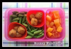 Chicken, Green beans, Watermelon, Canteloupe. Monkey loved this one. :) #kidslunch #backtoschool #brownbag