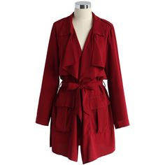 Chicwish Embrace Belted Chiffon Trench Coat in Wine (190 SAR) ❤ liked on Polyvore featuring outerwear, coats, red, red coat, red trench coat, tie belt, waterfall coat and belted coat