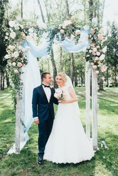 Kristina Ageeva - The-wedding. Church Wedding Decorations, Wedding Themes, Wedding Dresses, Wedding Ideas, Wedding Ceremony Backdrop, Wedding Arches, Dusty Blue Weddings, Greek Wedding, Flower Bouquet Wedding