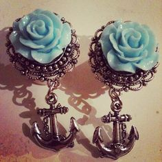 Rose and anchor plugs by GirlyCustomPlugs on Etsy, £9.00