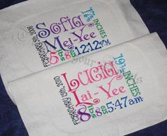 Atasha used assorted fonts for these burp clothes