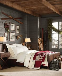 We already choose Extremely cozy and rustic cabin style living rooms, bedroom and overall Home Interior Design Inspirations. Each space differs, just with the appropriate furniture, you can readily… Rustic Winter Decor, Farmhouse Master Bedroom, Bedroom Rustic, Rustic Industrial Bedroom, Rustic Room, Outdoor Bedroom, Modern Bedroom, Rustic Bench, Rustic Nursery