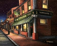 Eileen Patten Oliver - Christmas at Virgilio's in Gloucester- Oil - Painting entry - December 2014 | BoldBrush Painting Competition