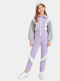 Multicolor Sporty Long Sleeve Fabric has some stretch Fall Girls Jumpsuits, size features are:Bust: ,Length: ,Sleeve Length:Long Sleeve Dresses Kids Girl, Kids Outfits Girls, Girls Fashion Clothes, Tween Fashion, Trendy Outfits, Girl Outfits, Fashion Outfits, Fashion Through The Decades, Forever 21 Outfits