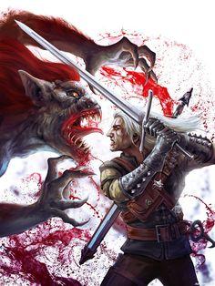 Ведьмак сражается со Стрыгой с красной гривой — Рисунки на аву
