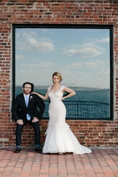 industrial wedding at The Liberty Warehouse, Brooklyn, NY with woodland decor - Elizabeth Duncan Events and Gulnara Studios   via junebugweddings.com