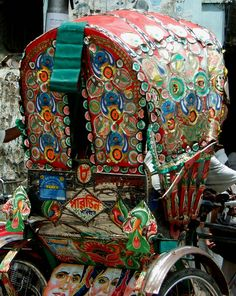 Rickshaw in Dhaka, Bangladesh. Cycle rickshaws are the most popular modes of transport in Bangladesh and are available for hire throughout the country including the capital city Dhaka, known as the 'Rickshaw Capital of the World'. Approximately 400,000 cycle rickshaws run each day. (V)