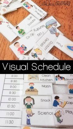 Go back on schedule to ease transition back to school. A visual schedule helps our homeschool get on track. Visual Schedule Printable, Visual Schedule Preschool, Classroom Schedule Cards, Kids Schedule, First Day Of School, Pre School, Creative Teaching, Teaching Ideas, Pediatric Occupational Therapy