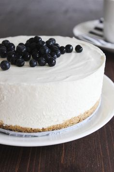 White chocolate mousse cake with blueberries
