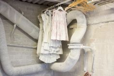 Alasdair Thomson. Made from marble. Marble clothes hanging on a clothesline.