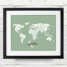 World Word Map - Date & Place with Coordinates - Wedding or Anniversary Gift. $15.00, via Etsy.