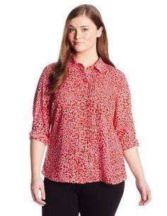 Jones New York Women's Plus-Size Long Sleeve Blouse with Raw Stripes
