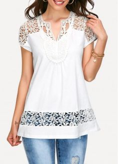White Lace Panel Cap Sleeve Blouse on sale only US$31.58 now, buy cheap White Lace Panel Cap Sleeve Blouse at liligal.com
