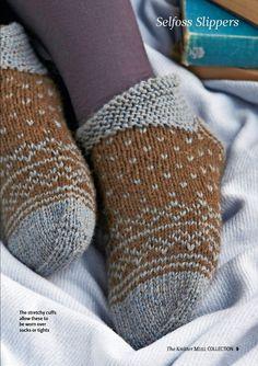 Вязание тапочек в стиле исландских носков и культового норвежского узора свитера Мариуса.  Дизайнер: Rosee Woodland