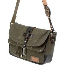 b8f08d434b Olive Canvas Messenger Crossbody Bag Recycled German Army