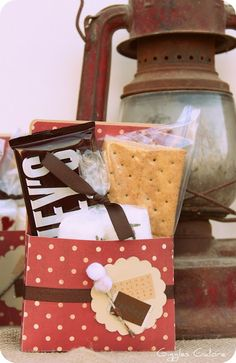 """Camp S'more Party: Cute packaging for S'mores - smores. Plus the source has lots of cute photos for her """"Camp S'more"""". 16th Birthday, Birthday Parties, Kid Parties, Birthday Board, Birthday Ideas, Porches, Gazebo With Fire Pit, Fire Pit Party, Rustic Fire Pits"""