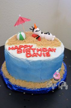 Olaf in Summer Frozen Themed Birthday Cake in Austin Texas by Sugie Galz