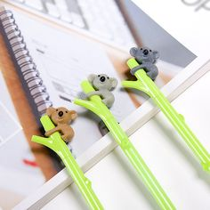 Hosaire Cartoon Pen Cute Koala Bear Gel Black Ink Plastic Pen with 0.5mm Fine Point Roller ball Pens Green Pack of 3: Amazon.co.uk: Kitchen & Home