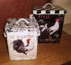 Adorable French Country Tin Rooster Canisters with a checkered black and white and damask design - Found at:  http://www.tuscanhomedecorandmore.com/servlet/the-1929/FRENCH-COUNTRY-TIN-ROOSTER/Detail