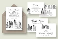 Forest Drawing Wedding Suite by Knotted Design on @creativemarket