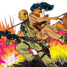 Illustrations by Nathan Fox - Bruce Willis Nathan Fox, Illustration, Animation, Comic Illustration, Linework, Art, Fan Art, Fox Art, Zelda Characters