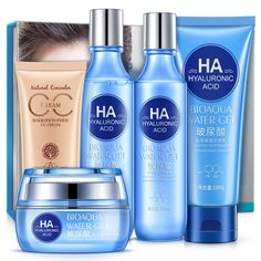 BIOAQUA Hyaluronic Acid Skin Care Set Hydrating Foundation CC Cream Moisturizing Gel Emulsion Toner Facial Cleanser 5pcs/lot  #HyaluronicAcid #SkinCareSet #HydratingFoundation #CCCream #MoisturizingGel #EmulsionToner #FacialCleanser #5pcslot