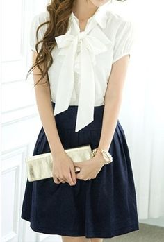 style / skirt / white blouse with bow