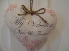 Vintage Handmade My valentine Now & Forever Pink Floral Valentines fabric heart | eBay