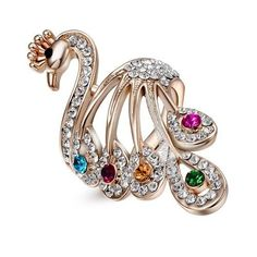 Fashion Swarovski Crystal Peacock Finger Ring 18K Rose Gold GP Women's Gift R364 #Bearfamilybirth #Cocktail